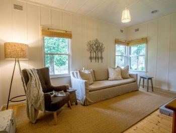 Merricks Cottage, Mornington Peninsula [Muskett Sisal rug with fold over edges and cushion pad underfelt]