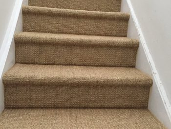 Saltbush Sisal on stairs in bullnose style