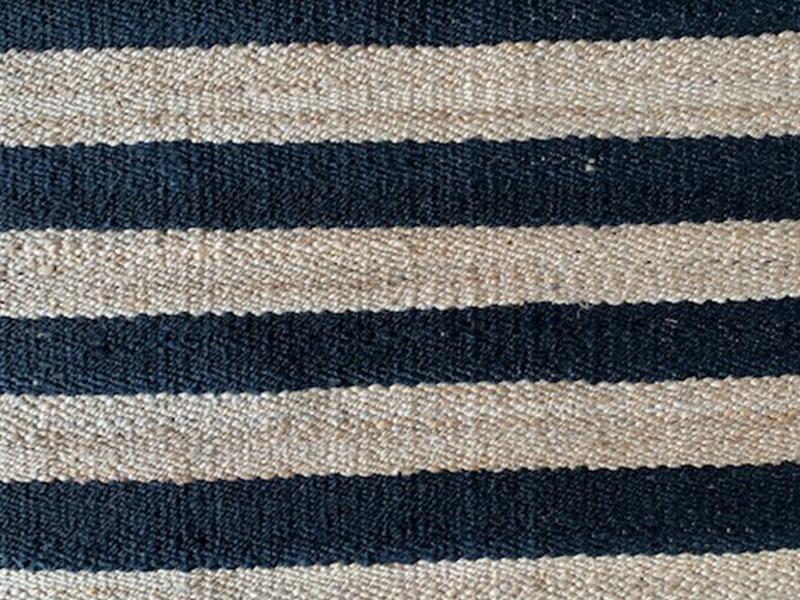 Black and Natural Handspun Striped Jute